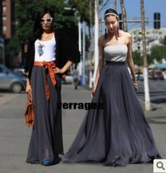 10 colors Europe Fashion Chiffon full skirt vintage bohemian long ...