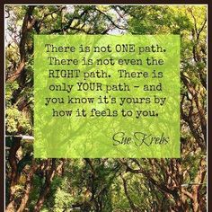 There is not ONE path. There is not even the RIGHT path. There is only YOUR path - and you know it's yours by how it feels to you. ~ Sue Krebs
