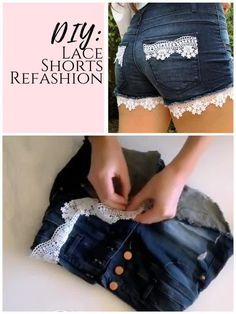 DIY denim shorts upcycle for summer! This quick and easy way to recycle old denim is perfect to refashion and repurpoase the old clothes you have in your closet for the warm weather ahead. plus, this tutorial adds length to make your shorts longer. Diy Jeans, Diy Lace Shorts, Jeans Refashion, Clothes Refashion, Diy Summer Clothes, Summer Diy, Diy Clothes With Lace, Old Clothes, Summer Outfits
