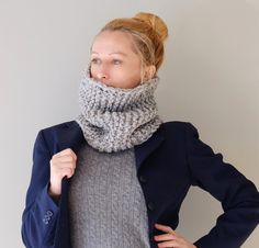 Chunky Cowl In Gray / Handmade Knit Oversized Neck by Accessodium
