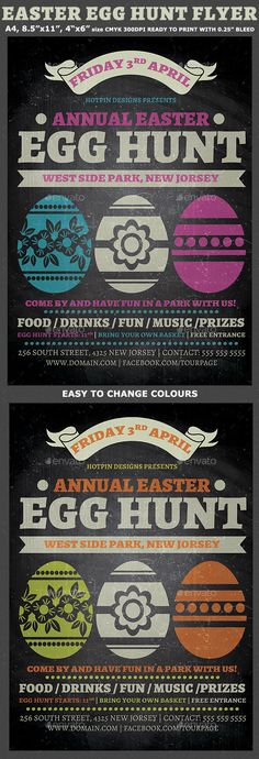 Retro Easter Flyer Flyer template, Game font and Fonts