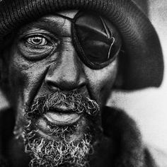 Portrait by Lee Jeffries.  The one eye that he does have is beautiful and powerful.