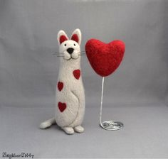 Valentine's Day gift   Needle felted animal  by NeighborKitty, $45.00