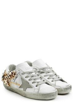 Leder-Sneakers Super Star mit Schmucksteinen | Golden Goose