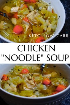 Simply delicious and easy keto chicken noodle soup made with cabbage instead of noodles. Just like mom used to make, without all the carbs. #ketosoup #chickennoodlesoup #ketochickennoodlesoup #lowcarbsoup #ketodietsoup Keto Chicken Soup, Stew Chicken Recipe, Easy Crockpot Chicken, Low Carb Chicken Recipes, Healthy Low Carb Recipes, Low Carb Dinner Recipes, Keto Soup, Ketogenic Recipes, Keto Recipes