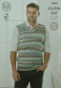 Mens Knitting Pattern K4260 Mens Sleeveless by KnittingPatterns4U