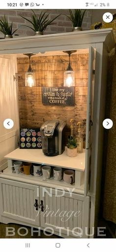 Refurbished Furniture, Repurposed Furniture, Furniture Makeover, Diy Furniture, Furniture Projects, Coffee Bars In Kitchen, Coffee Bar Home, Home Coffee Stations, Coffee Bar Design