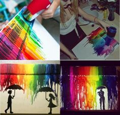 Such a cool art idea Cool Art Projects, Diy Craft Projects, Project Ideas, Wax Crayon Art, Crafts To Do, Arts And Crafts, Digital Art Photography, Creation Crafts, Graphic Artwork
