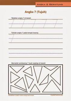 belajar angka paud (anak balita/TK), menulis 1-10, angka 7