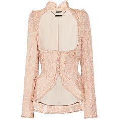 Alexander McQueen Embellished crinkled-organza and copper thread... ($3,479) ❤ liked on Polyvore featuring outerwear, jackets, tops, coats, blazers, blush, alexander mcqueen jacket, copper jacket, embellished blazer and blazer jacket