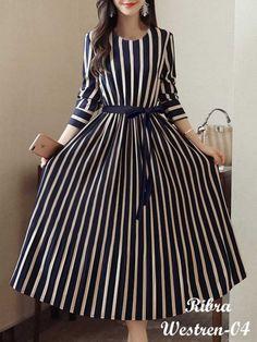 Plus Size Choker Neck Women Dress Party Long Sleeve Striped Dress - Top Trends Stylish Dresses, Simple Dresses, Casual Dresses, Fashion Dresses, Awesome Dresses, Ankara Fashion, Elegant Dresses, Formal Dresses, Wedding Dresses