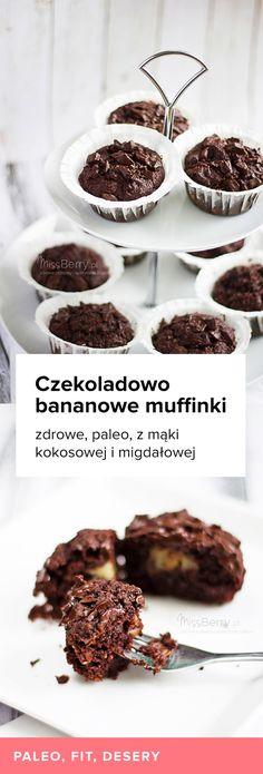 Przepis na przepyszne Czekoladowo Bananowe Muffinki zgodne z założeniami diety Paleo. Bez glutenu, bez mąki, bez cukru. Samo zdrowie!