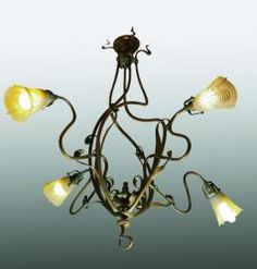 Victor Horta (1861-1947) - Electric Chandelier. Bronze with Glass Shades. Circa 1900. 101cm x 95cm.