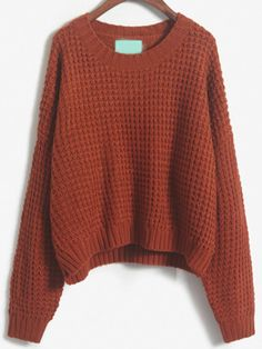 Brown Slit Chunky Knit Loose Sweater 20.26