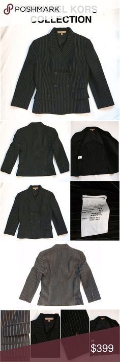 Michael Kors Collection Shrunken Jacket ✨New List Unique, wrinkled, Michael Kors Collection shrunken, double breasted jacket in black with white pinstripes. Three quarter sleeves, partial lining, and composed of 100% virgin wool. Dry clean only. Size 2. Wear it with jeans for a chic relaxed look, or pair it with a pencil skirt for work. Michael Kors Jackets & Coats Blazers