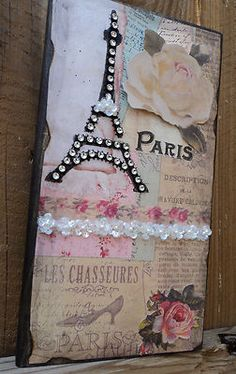 Paris Decor Sign Decorative Eiffel Tower & Roses in Vintage Paper French Decor