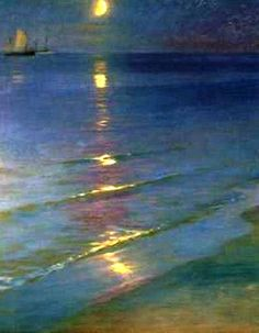 Peder Severin Kroyer (Danish painter)- Summer Evening on the Beach at Skagen.