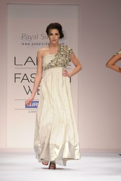 Champagne Taffeta Gown with Crystal and Gota Cutwork draped shoulder embroidery. SHOP THIS LOOK: http://www.payalsinghal.com/search/saba-gown