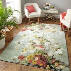 Alcott Hill Kopp Merging Floral Green/Beige Area Rug Rug Size: Rectangle x Motif Floral, Floral Rug, Floral Design, Floral Area Rugs, Beige Area Rugs, Mohawk Home, Red Green Yellow, Orange Area Rug, Modern Area Rugs