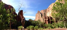 Looking back toward Angels Landing on the way to the Narrows, Zion National Park.