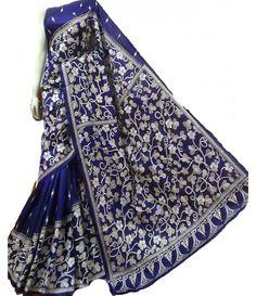Blue White Kantha Work Silk Saree