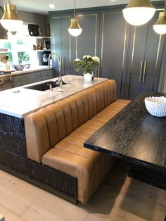 Channel Leather back and seat for a kitchen Restaurant Booth Seating, Booth Seating In Kitchen, Bar Restaurant Design, Dining Booth, Kitchen Booths, Booth Table, Dining Table In Kitchen, Kitchen Benches, Modern Restaurant