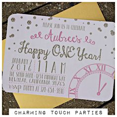 Girl New Years Birthday Party invitation.  Pink and Gold.  Set of 20, professionally printed with envelopes. by CharmingTouchParties on Etsy