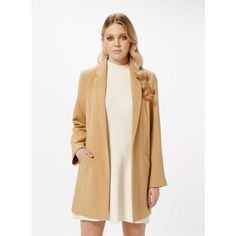 Miss Selfridge Camel Duster Coat ($61) ❤ liked on Polyvore featuring outerwear, coats, camel, white coat, camel coat, miss selfridge, lightweight coat and miss selfridge coats