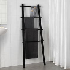 IKEA - VILTO, Towel stand, black, Easy to keep clean as the fabric can be removed and washed. Perfect in a small bathroom. You can hang things from the knobs on the sides.