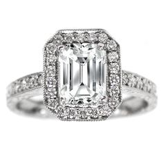 Emerald Cut Diamond Halo Engagement Ring Vintage Style Setting 0.40 tcw. In 14K White Gold, Oh I want this.