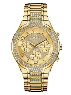 3fda6d747034 GUESS Womens Stainless Steel Crystal Accented Bracelet Watch Color GoldTone  Model U0628L2   Check this awesome