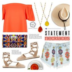 """""""Statement Necklaces ~ Stack'Em!"""" by alexandrazeres ❤ liked on Polyvore featuring Lipsy, Ryan Roche, Schutz, ASPIGA, Topshop, yellow, orange, jewelry, statementnecklaces and urbancarats"""