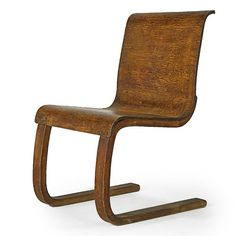Alvar Aalto; Laminated Curly Birch Cantilever Chair  for Finmar, 1930s.