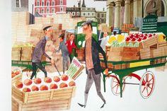 """This is London"" - M. Sasek illustration of vegetable traders in Covent Garden market taken from vintage ""This is London"" book by Miroslav Sasek"
