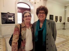 Kathy Lowe from the Massachusetts School Library Association (left), State Representative Kate Hogan