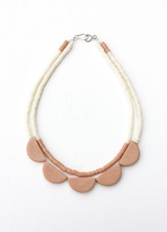 geometric scallop double strand polymer clay door debroervandevogel, €40.00