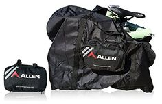 Allen Sports Folding Bike Carry and Storage Bag, 20 inch / One Size, Black. Nylon Carry Bag for storage and transport of Allen Folding Bikes. Back folds up into itself for a compact package when not in use. Frame straps attach to bicycles frame for easy transport.