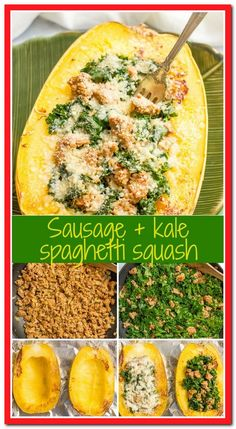 Stuffed spaghetti squash with sausage and kale is an easy recipe for a delicious, hearty dinner! Easy Soup Recipes, Salad Recipes, Chicken Recipes, Dinner Recipes, Cooking Recipes, Healthy Recipes, Recipe Chicken, Sausage And Spaghetti Squash, Spaghetti Squash Recipes