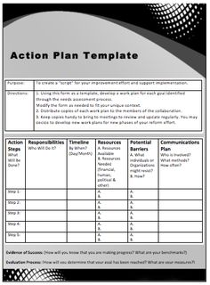 business action plan template excel project management