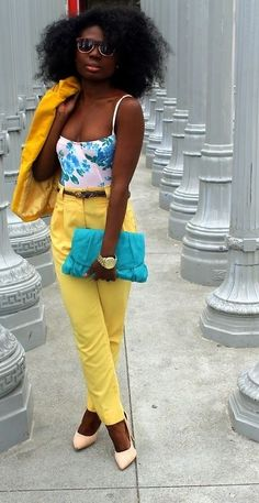 High waisted yellow pants and crop top