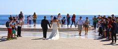 Bride & groom arrive to cheers on the Balcon de Europa