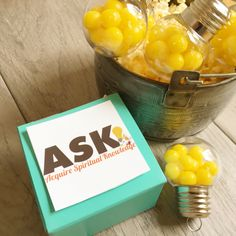 2017 LDS YW New Beginnings - ASK Acquire Spiritual Knowledge - Love the lightbulbs!
