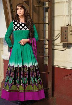 Green & Pink Colour Cotton based Semi Stitch Dress Material - JustKartIt