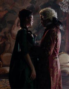 "Claire Fraser (Caitriona Balfe) and King Louis XV (Lionel Lingelser) in Episode 207 ""Faith"" of Outlander Season Two on Starz via https://outlander-online.com/"