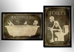 Toilet and bathroom signes,art,skull,skeleton,gothic,goth,funny,door sign,foam board,