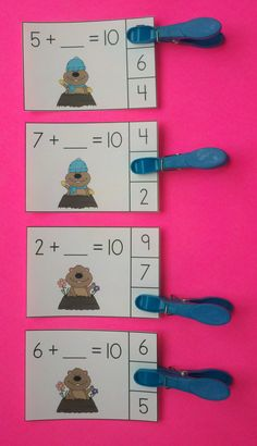 February Friends of 10 Addition Clip Cards Kindergarten Activities, Classroom Activities, Teaching Math, Math Worksheets, Teaching Resources, Teaching Ideas, Mastering Math, Primary Maths, Groundhog Day