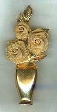 Image result for 3 gold mesh roses in gold vase brooch