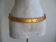 Ethnic vintage metal belt gold tone/coin belt by GIFTISTANBUL