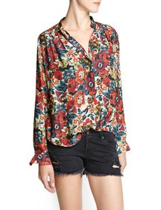Red Long Sleeve Floral Slim Blouse