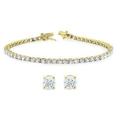 Gold-Plated Tennis Bracelet and Earrings Set Made with Swarovski Elements